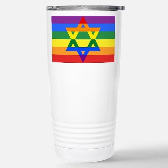 Rainbow Star of David Travel Mug