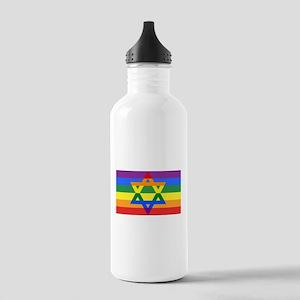 Rainbow Star of David Water Bottle