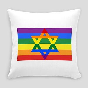 Rainbow Star of David Everyday Pillow
