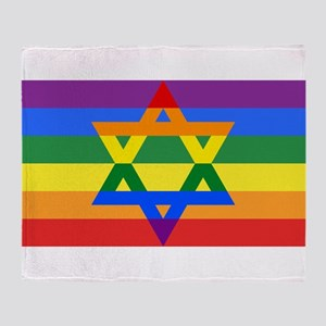 Rainbow Star of David Throw Blanket