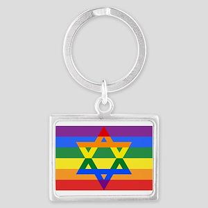 Rainbow Star of David Keychains