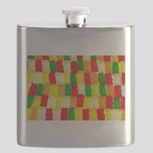 Colorful gummi bear candy pattern Flask