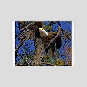 Bald Eagle takes flight 5'x7'Area Rug