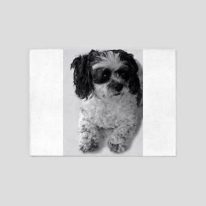 Black Gray White Shih Tzu Poodle Mi 5'x7'Area Rug