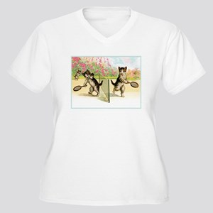 VINTAGE CAT ART Women's Plus Size V-Neck T-Shirt