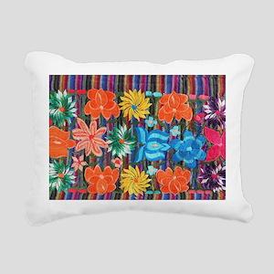Mexican Flower Embroider Rectangular Canvas Pillow