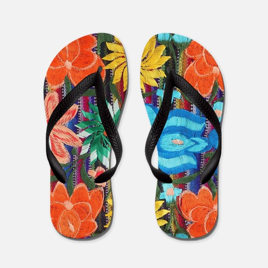 Mexican Flower Embroidery Flip Flops