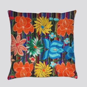 Mexican Flower Embroidery Everyday Pillow