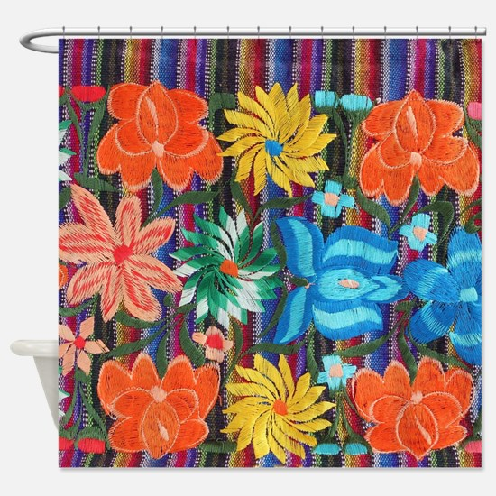 Mexican Flower Embroidery Shower Curtain