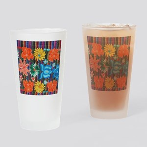 Mexican Flower Embroidery Drinking Glass