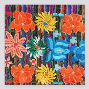"""Mexican Flower Embroider Square Car Magnet 3"""" x 3"""""""