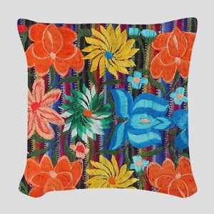 Mexican Flower Embroidery Woven Throw Pillow