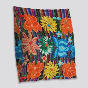Mexican Flower Embroidery Burlap Throw Pillow