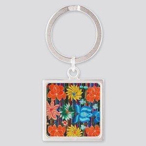 Mexican Flower Embroidery Square Keychain