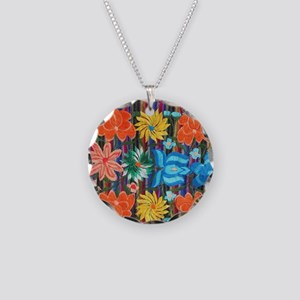 Mexican Flower Embroidery Necklace Circle Charm