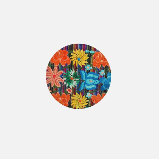 Mexican Flower Embroidery Mini Button
