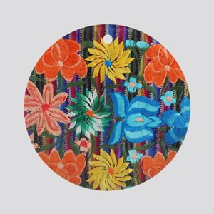 Mexican Flower Embroidery Round Ornament