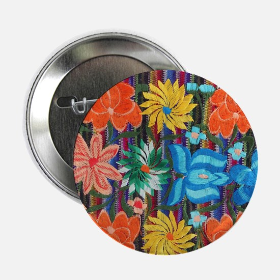 "Mexican Flower Embroidery 2.25"" Button"