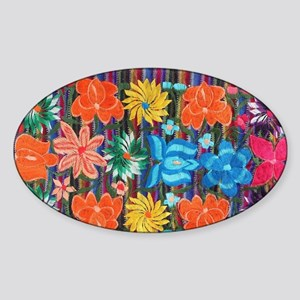 Mexican Flower Embroidery Sticker (Oval)