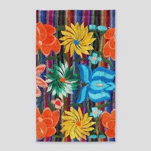 Mexican Flower Embroidery Area Rug