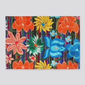 Mexican Flower Embroidery 5'x7'Area Rug