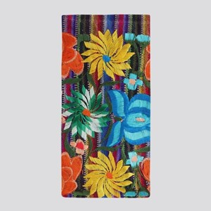 Mexican Flower Embroidery Beach Towel