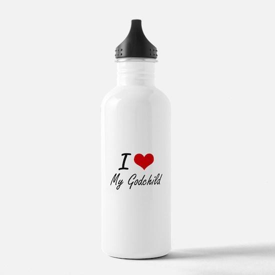 I Love My Godchild Water Bottle