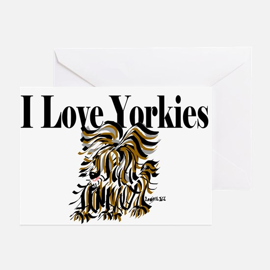I Love Yorkies Greeting Cards (Pk of 10)