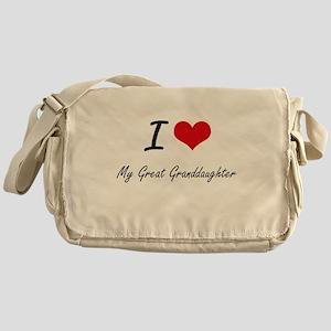 I Love My Great Granddaughter Messenger Bag
