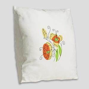 Watercolor Wildflowers Burlap Throw Pillow