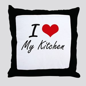 I Love My Kitchen Throw Pillow