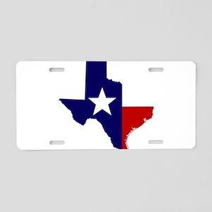 TEXAS LONESTAR WHITE RED Aluminum License Plate