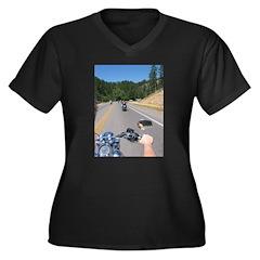 To Deadwood Women's Plus Size V-Neck Dark T-Shirt