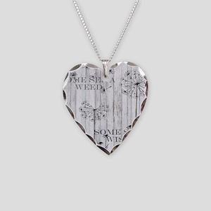 Dandelion Wish Necklace Heart Charm