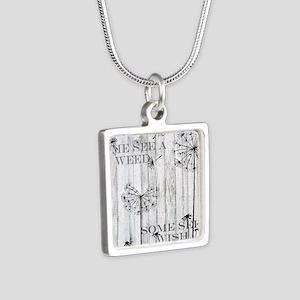 Dandelion Wish Silver Square Necklace