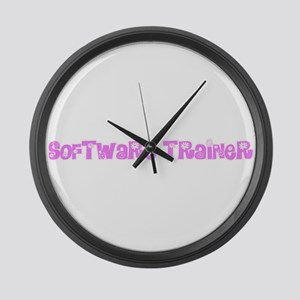 Software Trainer Pink Flower Desi Large Wall Clock