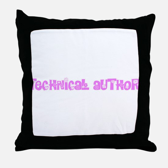 Technical Author Pink Flower Design Throw Pillow