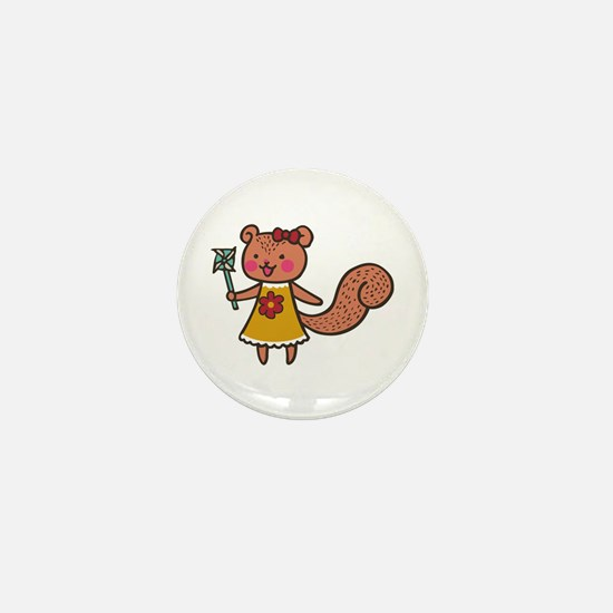 Squirrel With Pinwheel Mini Button