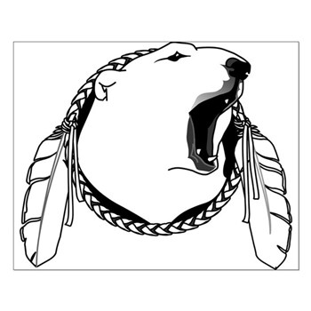 Polar Bear Poster Tribal Bear Art Small Poster