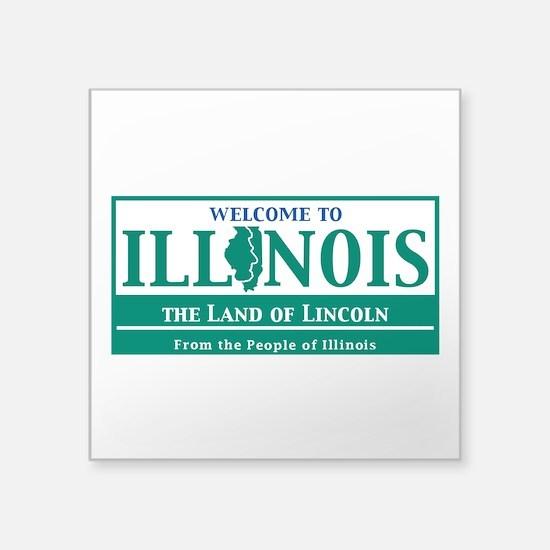 "Welcome to Illinois - USA Square Sticker 3"" x 3"""