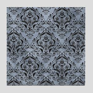 DAMASK1 BLACK MARBLE & SILVER PAINT Tile Coaster