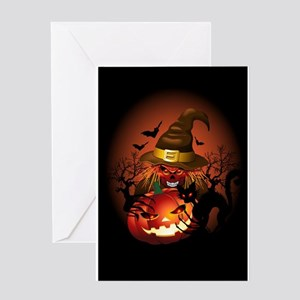 Skull Witch Creepy Halloween Greeting Cards