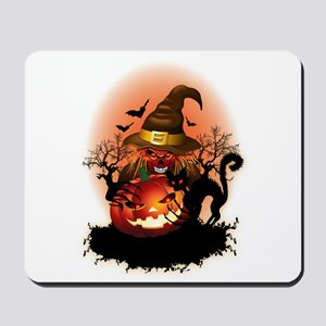 Skull Witch Creepy Halloween Mousepad