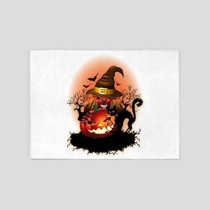 Skull Witch Creepy Halloween 5'x7'Area Rug