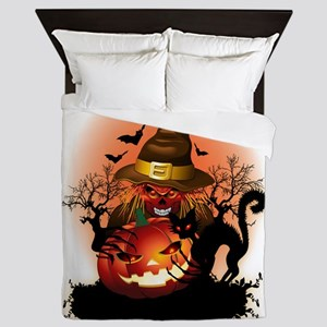 Skull Witch Creepy Halloween Queen Duvet