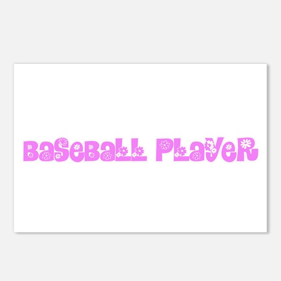 Baseball Player Pink Flow Postcards (Package of 8)