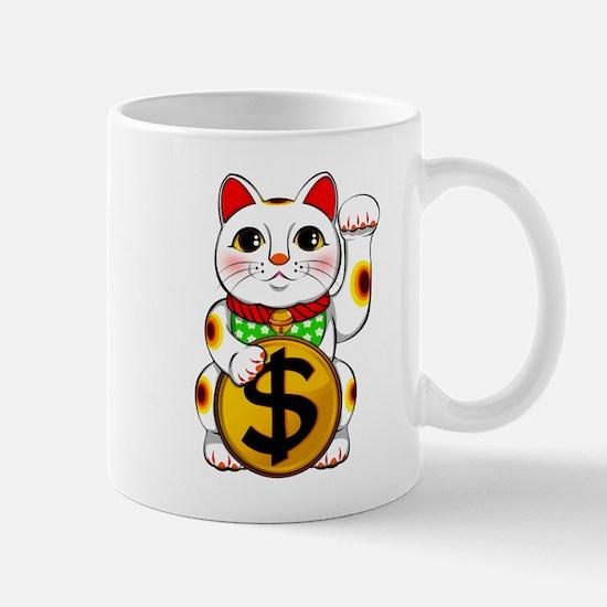 Dollar Lucky Cat Maneki Neko Mugs