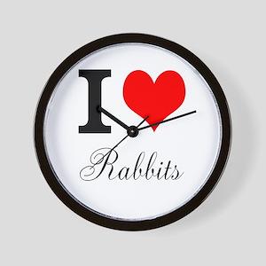 I heart Rabbits Wall Clock