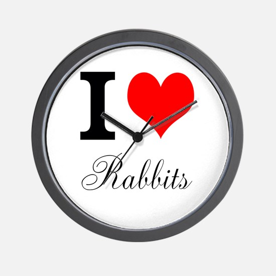 I heart Rabbits Wall Clock