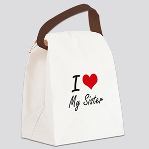 I Love My Sister Canvas Lunch Bag
